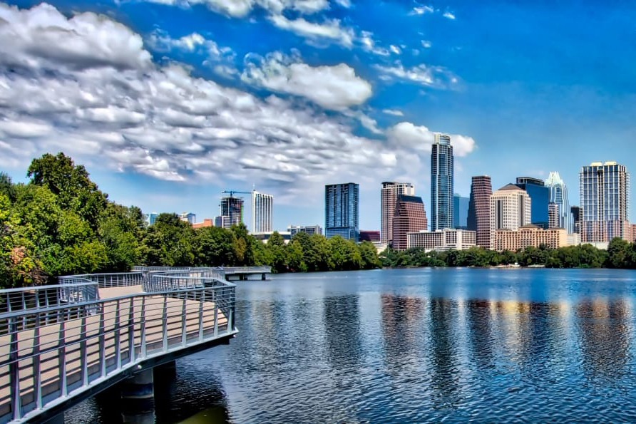 A view of the Austin skyline from the boardwalk by Lady Bird Lake